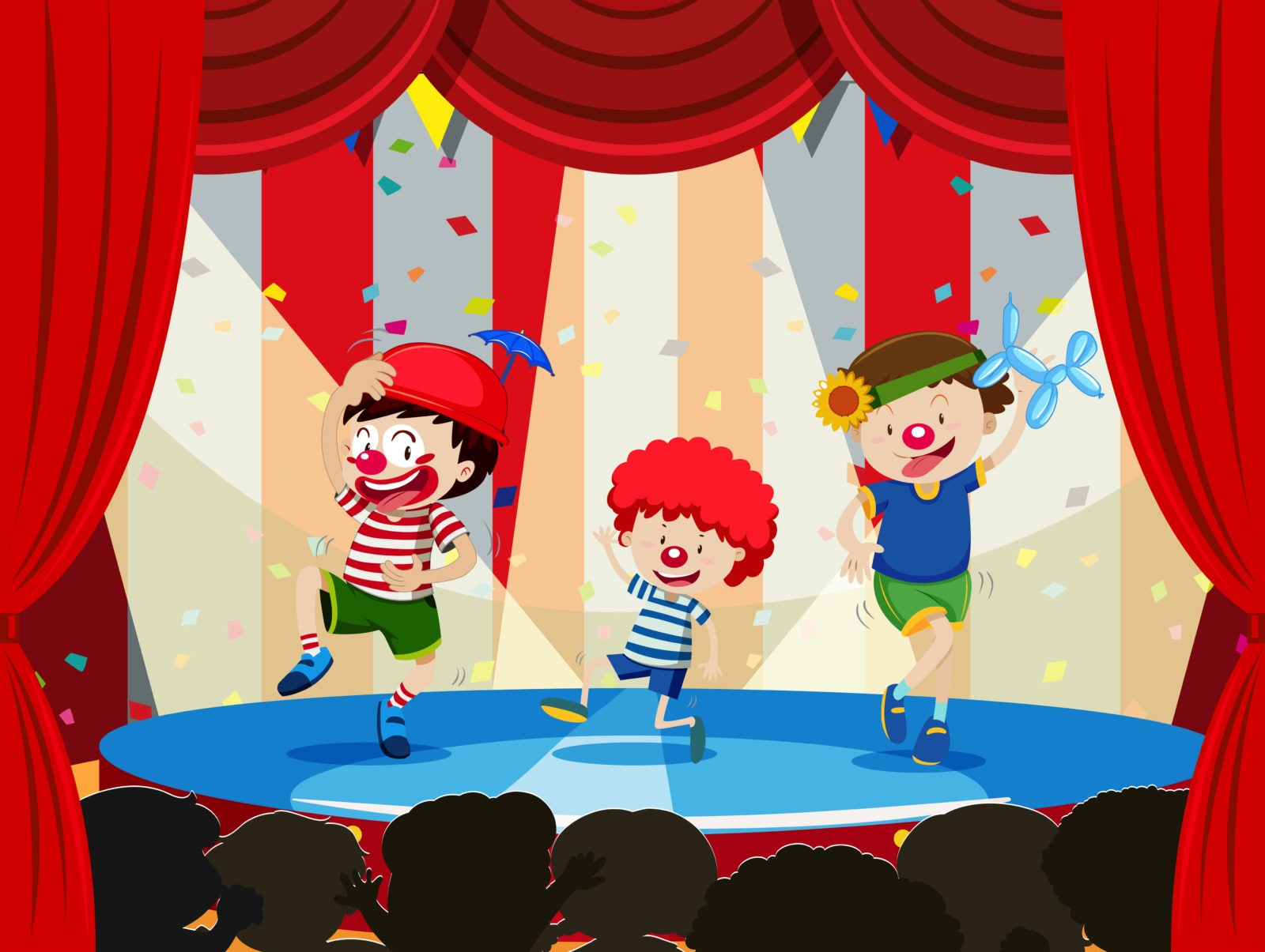 Children performing on stage  illustration